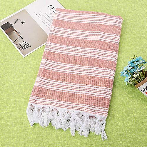 WLQCPD Handdoek,Gestreepte badhanddoek 100% katoen Sandy Coast-handdoeken Outdoor-picknickhanddoeken Hotel Travel Tippet Zomer Dames Jurken Mock, oranje, 100x180cm