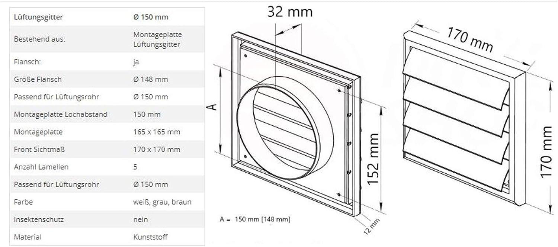 100 mm de di/ámetro, 150 x 150 mm, con regulador deslizante, protecci/ón contra insectos, pl/ástico ABS Rejilla de ventilaci/ón