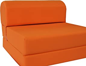 D&D Futon Furniture Orange Sleeper Chair Folding Foam Bed Sized 6 X 32 X 70, Studio Guest Foldable Chair Beds, Foam Sofa, Couch, High Density Foam 1.8 lbs