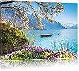 Genfer See im Sonnenschein, Format: 80x60 auf Leinwand, XXL