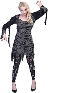 Halloween Costume for Women Adult Living Dead Costume Scary Lady Zombie Cosplay Hole Dress and Leggings 2 Pieces Set