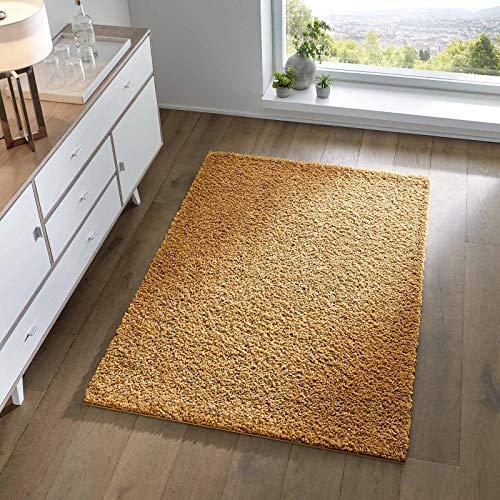 Taracarpet Shaggy Teppich Wohnzimmer Schlafzimmer Kinderzimmer Hochflor Langflor Teppiche modern gelb 140x200 cm