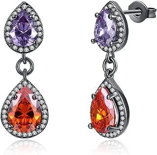 Women's New Exquisite Fashion Jewelry Hot Sale Gun Black Water-drop Teardrop Red Diamond Earring