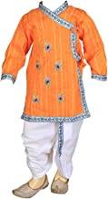 FOCIL Orange Peacock Feather Embroidery Dhoti & Kurta Pant Set Kids