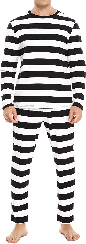 Sykooria Mens Cotton Striped PJS Long Sleeve Shirt With Pants For Men 2 Piece Sleepwear Pajamas Set For Men