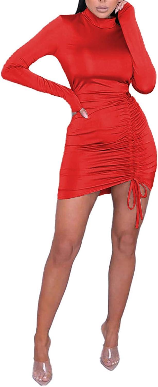 Salimdy Women's Sexy Long Sleeve Ruched Bodycon Mini Club Dress Elegant Mock Neck Drawstring Basic Pencil Dresses