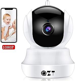 QZT Cámara IP HD Cámara de Vigilancia WiFi Interior Casa Seguridad Camara con Visión Nocturna Detección Movimiento Email Alarma Inalámbrico Video Camera para Mascota Oficina Bebé Tienda (1080P)