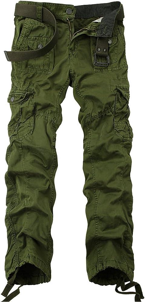 OCHENTA Men's Multi Pockets Military Cargo Pantss Outdoor Casual Wear #3380 Army Green 44