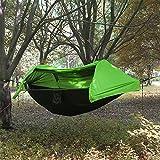 Camping Hamaca con mosquitera y Protector de Lluvia Ligero portátil de paracaídas cordón Dormir Swing para Colgar Cama para Selva Campo Sobrevivir, Senderismo, Viajes, al Aire Libre y Mochila