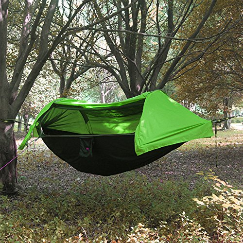 2 persona campeggio amaca con zanzariera e copertura antipioggia leggero paracadute cordino Sleeping Swing Hanging Bed for Jungle campo sopravvivenza, escursioni, viaggi, all' aperto e zaino