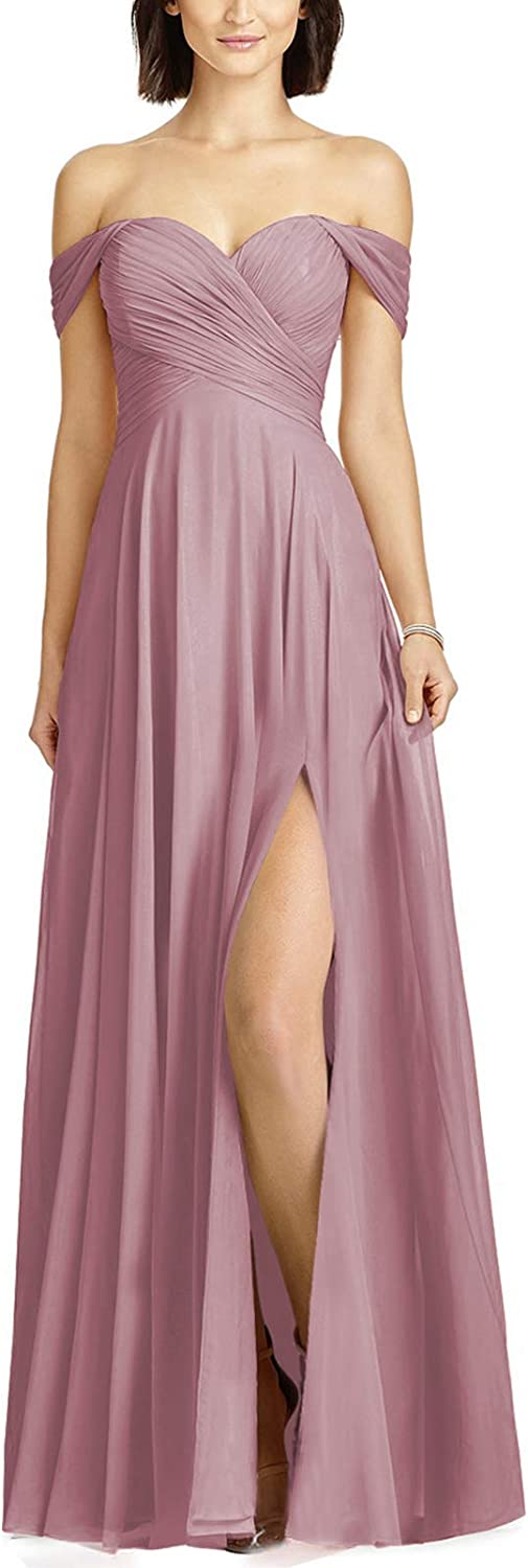 Loyeloy Large special price !! Women Off Shoulder Pleat Dresses Chiffon with Bridesmaid Max 64% OFF