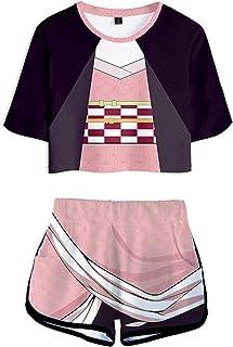 Womens Demone Slayer Pigiama Set Ragazze Anime Kimetsu no Yaiba Manica Corta Activewear Set Casual Tanjirou Agatsuma Cospl...