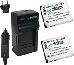 Wasabi Power Battery (2-Pack) and Charger for Pentax D-LI88, Optio H90, P70, P80, W90, WS80