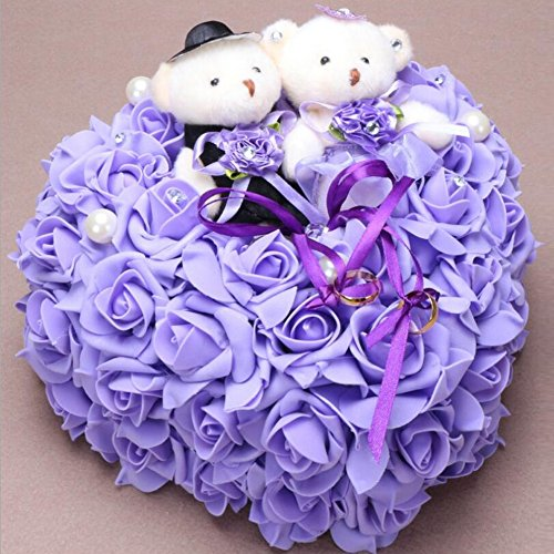 bpblgf Coeur Romantique en Forme de Coussin de Rose Alliance Boîte de Bague de Mousse 25 * 25CM, Purple, 25 * 25cm