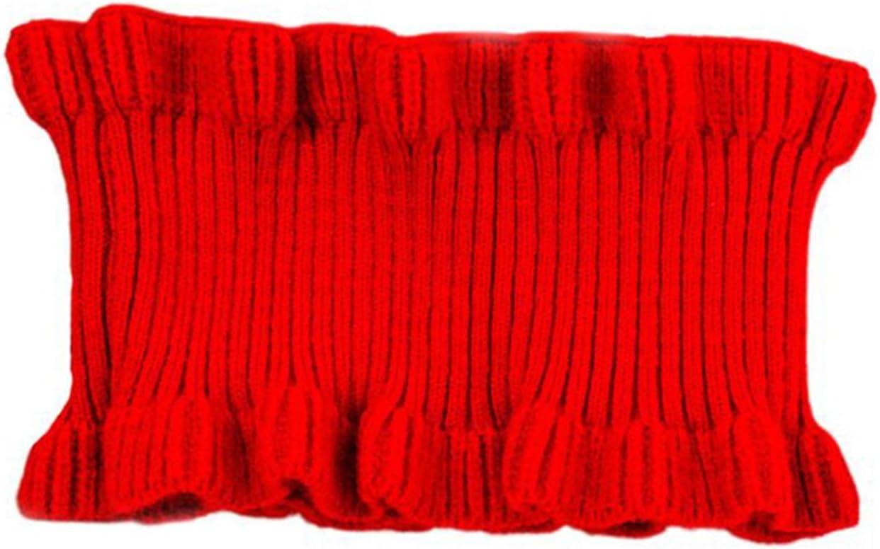 Scaldacollo Invernale da Donna Scaldacollo a Costine in Maglia con Volant Trim Tinta Unita Girocollo Colletto Falso-Beige QIANGU Sciarpa da Donna