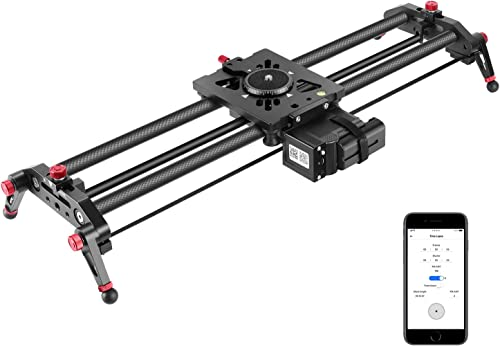 Neewer Motorized Camera Slider, 39.3-inch APP Control Carbon Fiber Track Dolly Rail with Mute Motor/Time Lapse Video ...