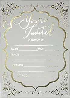 Fill in Invitations Wedding, Gold Foil - 25 Pack - Wedding Invitation, Hot Stamp Press. Party Invitations Birthday, Anniversary Celebration, Bridal or Baby Shower (Invitation Gold 1)