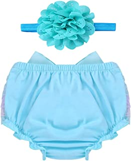 e20484022db Freebily Infant Girls Baby Bloomer Outfits Diaper Cover and Flower Headband  Set Baby Photography Prop