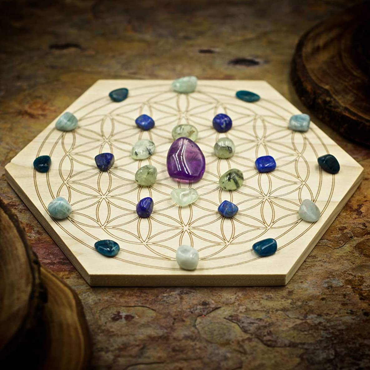 Psychic Gifts Mini Crystal Grid Set with 6 inch Sacred Geometry Grid Board, and Amethyst, Prehnite, Lapis Lazuli, Aquamarine, and Apatite