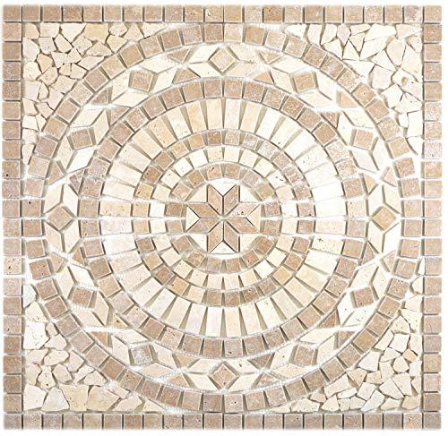 Naturstein Mosaik Einleger Fliese Groß Travertin beige walnuss für WANDDEKO BAD WC KÜCHENDEKO