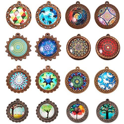 Keyzone 32 Stück Bastelset Rund Holz Anhänger Tablett Lünette mit Transparente Glas Cabochon Lederband Kette Glaskuppel für DIY Ohrringe Weihnachten schmuck Halskette