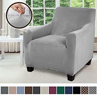 Gorilla Grip Original Velvet Fitted 1 Piece Chair Slipcover, Stretch Up to 23 Inches, Soft Velvety Covers, Luxurious Armchair Slip Cover, Spandex Chairs Furniture Protector, with Fasteners, Gray