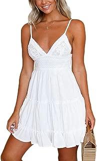 Womens Spaghetti Strap V-Neck Lace Dress Bowknot Backless Sleeveless Ruffle Mini Swing Skater Dress