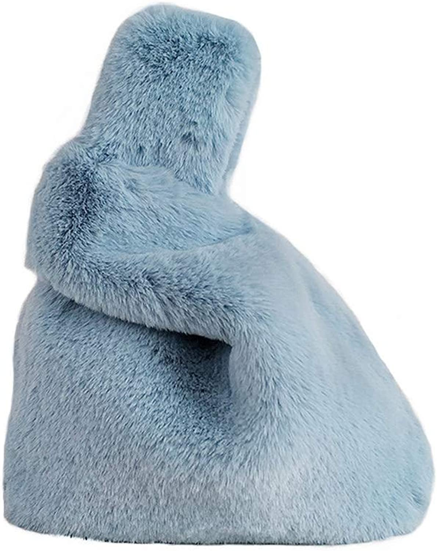 Marchome Soft Faux Rabbit Fur Pull Through Strap Handbag Wrist Purse for Women