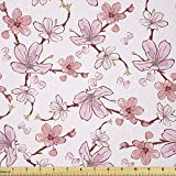 Ambesonne Asian Fabric by The Yard, Gentle Cherry Blossom Sakura Flower Spring Season Inspired Japanese Foliage Love, Stretch Knit Fabric for Clothing Sewing and Arts Crafts, 1 Yard, Pink Blush