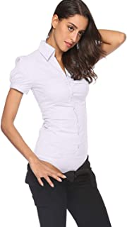 Soojun Women's Short Sleeve Button Down Career Shirt Bodysuit Blouse