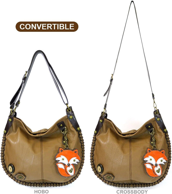 Chala Hobo Crossbody Large Tote Bag FOX Pleather BROWN Congreenible