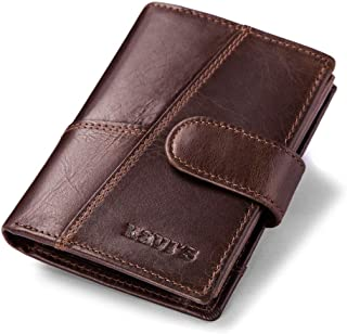 Leather Bag Mens Cowhide Wallet Leather Men's Wallet Vintage Wallet European and American Fashion Wallet High Capacity (Color : Brown, Size : S)