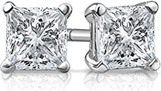 Solid 925 Sterling Silver Cubic Zirconia CZ Solitaire Stud Earrings (Round & Princess)