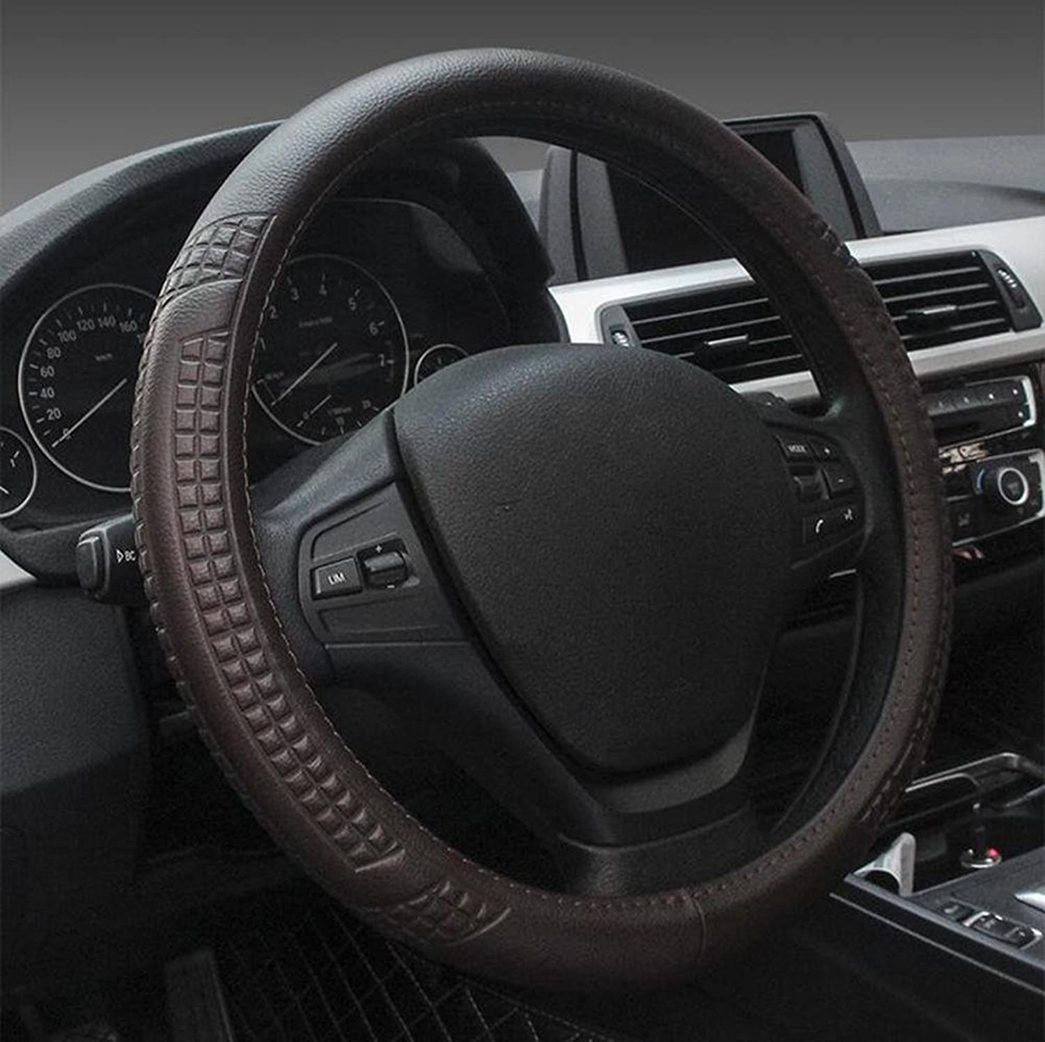 Auto Accessories 2018 Car Steering Wheel Cover 2018 New Leather Linen Car Cover Four Seasons Universal, Brown, 38CM