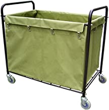 Stainless Steel Folding Laundry cart, Rolling Laundry Trolley, Square Dirty Laundry Collection cart, Detachable Oxford Clo...