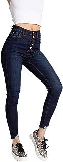Kan Can Women's Super High Rise Ankle Skinny Jeans - Hem Detail - KC7273