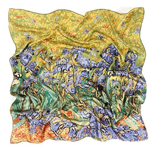 prettystern Damen Seidentuch 90X90 Crepe Satin Seide grün Kunstdrucke Van Gogh - Die Schwertlilien Iris P995