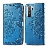 Bear Village Hülle für Huawei P40 Lite 5G / Nova 7 SE, PU Lederhülle Handyhülle für Huawei P40 Lite 5G / Nova 7 SE, Brieftasche Kratzfestes Magnet Handytasche mit Kartenfach, Blau