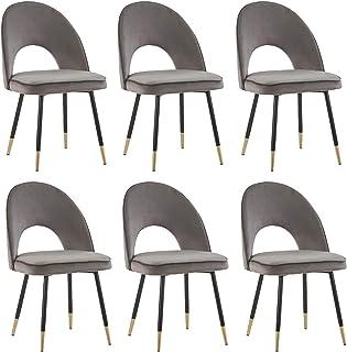 Greneric - Lot de 2/4/6 chaises - Salle à manger, cuisine, salon - Velours doux, avec pieds en métal doré - Velours gris