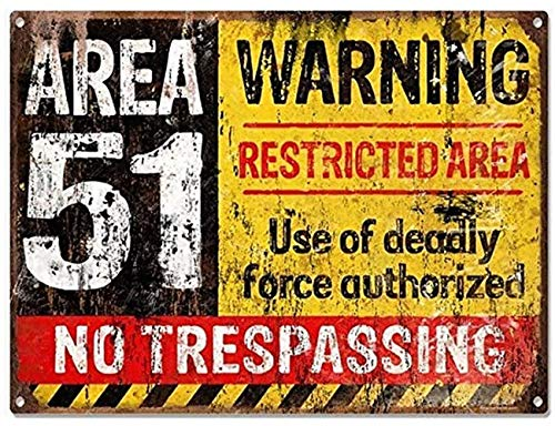 cafini Retro Tin Signs Vintage Area 51 Warning No Trespassing Military Restricted Area Metal Signs for Cafes Bars Pubs Wall Decor 8x12 Inch