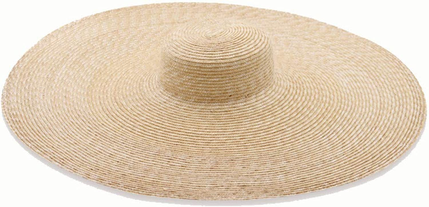 TYMYJF Europe and The United States Simpleincrease Hat Flat Top Wheat Straw Hatconcave Shape Catwalk Big Hat25Cm Plus Wire