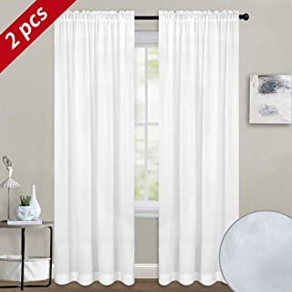 Melodieux White Velvety Semi Sheer Curtains 96 Inches Long for Bedroom, Living Room Elegant Soft Texture Rod Pocket Voile Drapes, 52 by 96 Inch (2 Panels)