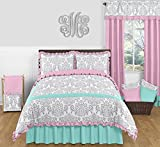 Sweet Jojo Designs Skylar Turquoise Blue, Pink Polka Dot and Gray Damask 3 Piece Girls Full/Queen Bedding Set
