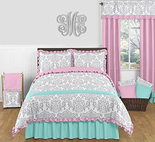 Sweet Jojo Designs Skylar Turquoise Blue, Pink Polka Dot and Gray Damask 3 Piece Girls Full/Queen Bedding Set