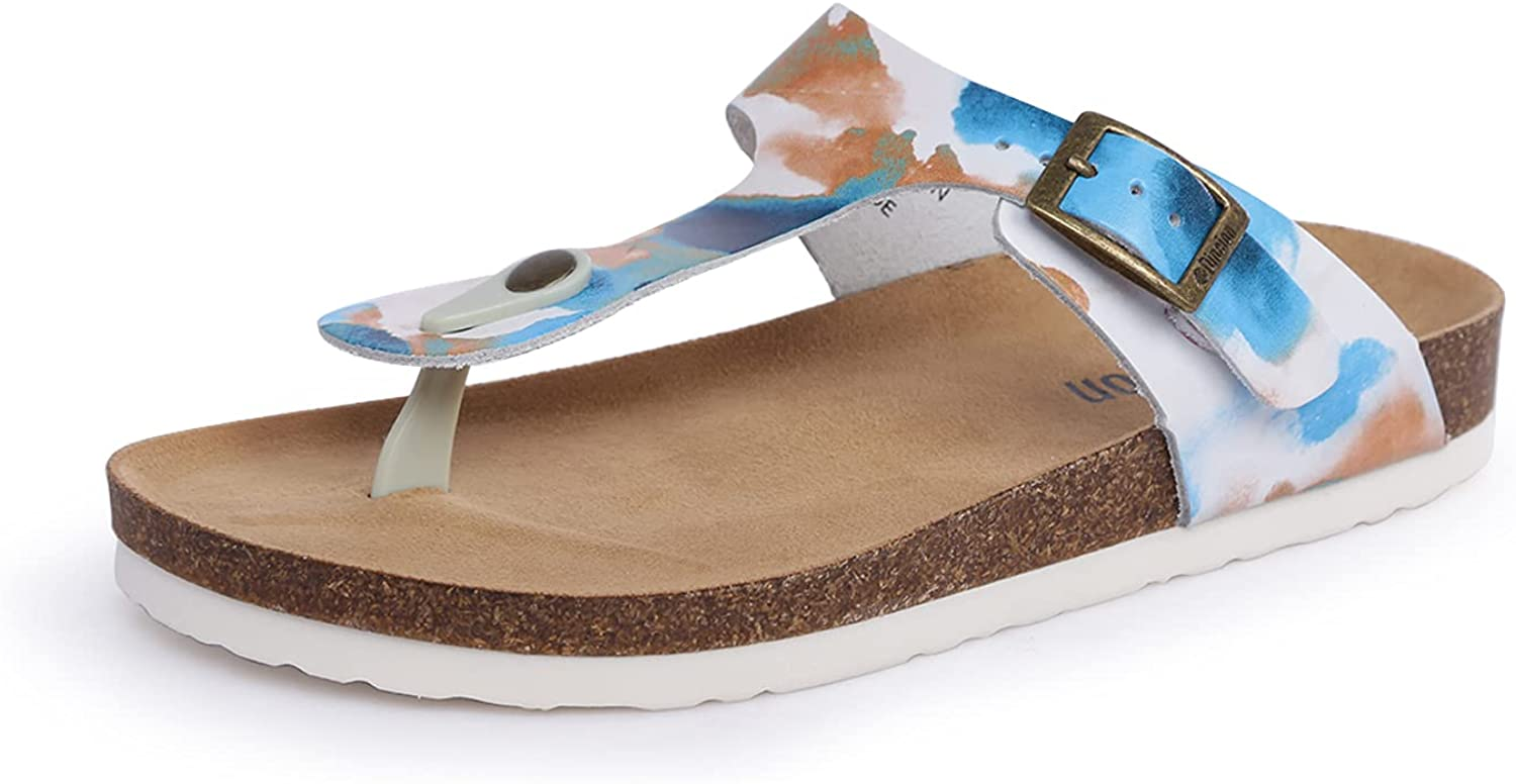 Women's Comfortable Foot-bed Flat Sandals Cork Slippers Metal Double Buckle Adjustable Arch Support Slippers