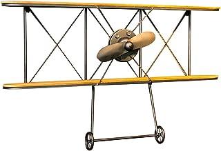 Zfggd Estante de Pared de Aviones de Hierro Forjado de Viento Industrial Vintage, Estante de Almacenamiento Decorativo de Barra de 2 Niveles de Madera Amarilla (39