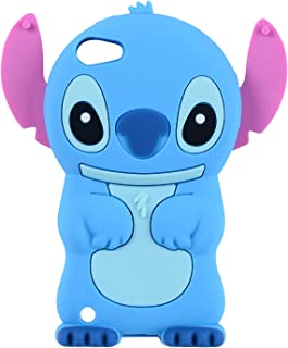 Blue Stitch Case for Apple iPod Touch 6th 5th Generation 3D Cartoon Animal Cute Soft Silicone Rubber Character Cover,Kawaii Animated Funny Cool Skin Cases for Kids Child Teens Guys Girl(Touch 6/5th)