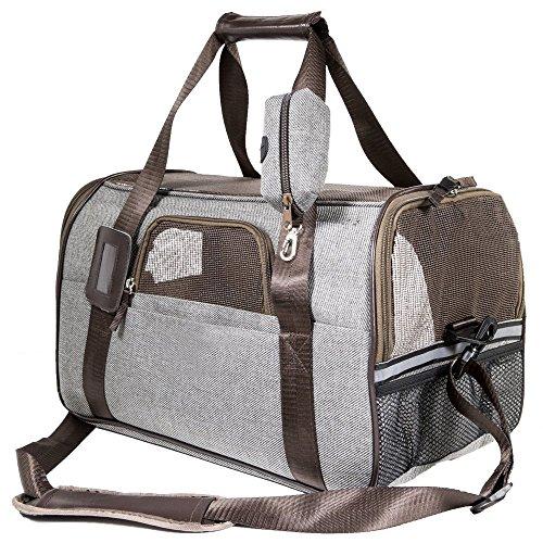 SCM Pets Tasche nur für Katze und Kleine Hunde bis 3KG, Fluggesellschaft zugelassen weichen Faltbox (44 x 25 x 28 cm)