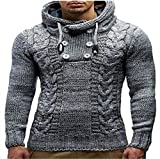 Men Sweater Autumn Winter Casual Hand Knitted Slim High Sweater Long-Sleeved Men Hoodied Sweaters Gray XXXL