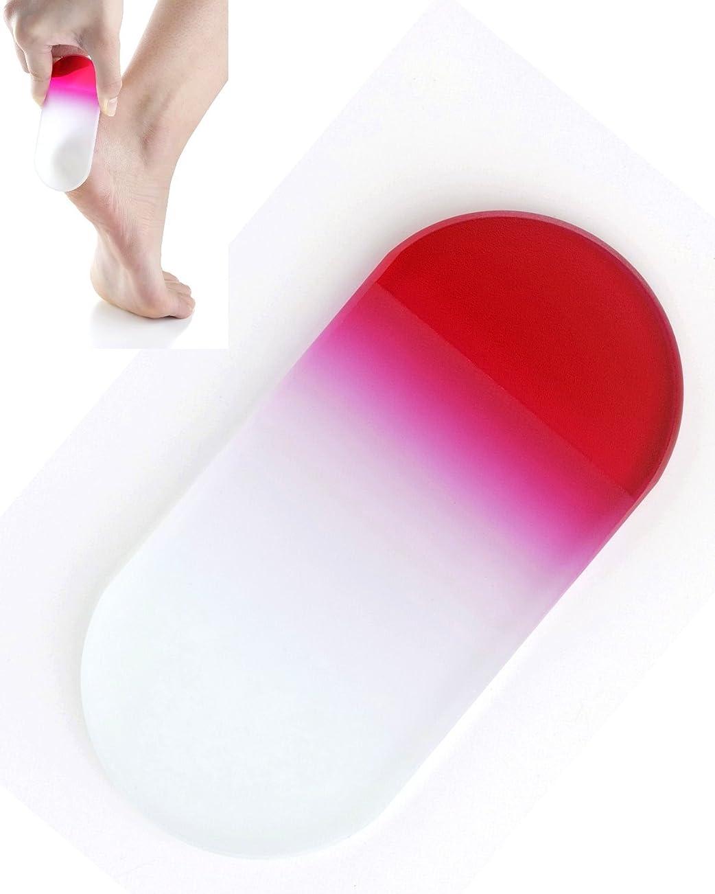 に沿って曲線人間BISON チェコ製ガラス かかとキレイ ピンク 荒目/細目両面 専用ケース付 介護用
